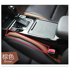 2 Pcs Car Brown PU Leather Holster Car Seat Pad Gap Spacer Filler Pad Leak proof