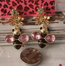 NEW Charm Betsey Johnson Women Drip Black Bee Crystal Gem Alloy Earrings BJEA033