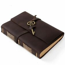 Ancicraft Leather Journal Sketchbook Guestbook with Vintage Key A5 Blank Paper