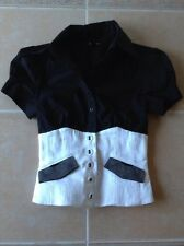 NWOT BEBE CORSET BUTTON UP BUSTIER BLACK WHITE TOP SIZE 2 and  SIZE 4