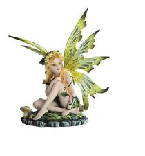 "6.25"" Fairy with Green Wings Sitting Statue Figurine Figure Mushroom Magic"