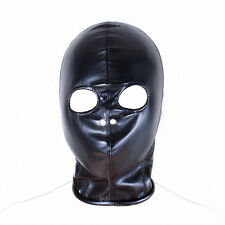 Faux Leather Full Head Eye Holes Exposed Zip Bondage Fetish Hood 'H02'