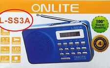 ONLITE SS3A Portable FM Transistor/Radio with USB/SD MP3 Player+DisplayAUX Torch
