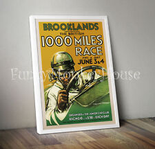 Vintage car poster racing motorsport automobile- A4 - Brooklands 1000 miles