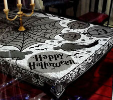 "Halloween Decoration Tablecloth Ghosts Spiders Webs Pumpkins Black Lace 60""x 84"""