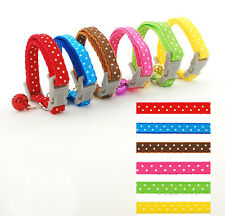 """Various Colors Nylon Dog Puppy Collar Cat Kitten Collar Bell Attached for 6-9""""XS"""
