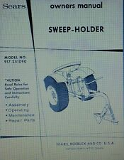 Sears Sweep-Holder Garden Tractor Owner & Parts Manual 8pg 917.251090 Plow point