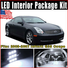 9X Xenon White LED Interior Lights Package Kit For 2003-2007 Infiniti G35 Coupe