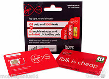 Virgin Mobile PAYG Pay As You Go Standard / Micro / Nano Sim Card Pack