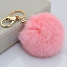 New Cute Rabbit Fur Ball PomPom Cell Phone Car Pendant Handbag Key Chain Ring