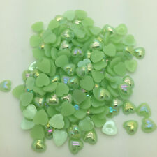 DIY 100pcs 8mm Heart-Shaped Pearl Bead Flat Back Scrapbook For Craft Green