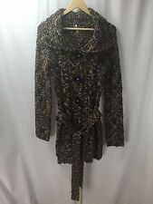 FREE PEOPLE Charcoal Pink Green Chunky Knit Belted Sweater Coat Sz S