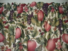 Butterflies Grapes Apples country farm kitchen fabric curtain topper Valance