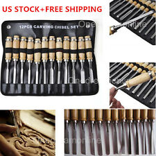 12 Piece Wood Carving Hand Chisel Tools Set Woodworking Professional Gouges USA