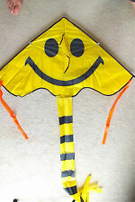 2 CHINESE SMILY FACE W KITE KITESURFING HARNESS BAR CHILDREN TOYS GIFT PARTY B3