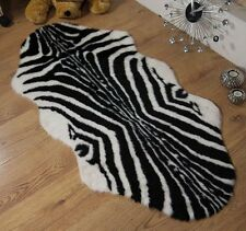 Zebra Animal Print Faux Fur Double Sheepskin Style Rug 70 x 140cm Washable
