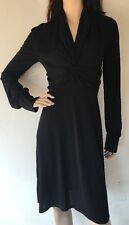 MALO $1100 SILK BLEND LONG SLEEVE BLACK DRESS sz 44 made in Italy