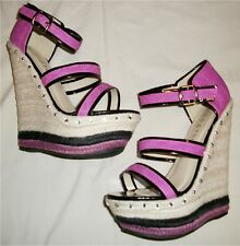 Black/Pink sz8 Faux Leather/Patent Open Toe Espadrille Wedges w/Rhinestones NIB