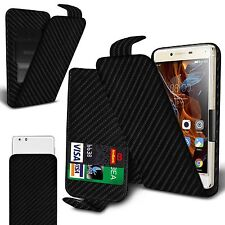 For Samsung Galaxy J1 4G - Carbon Fibre Flip Case Cover With Clip Function