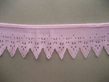 CRAFT-SEWING-LACE 1.5mtrs x  60mm Dusty Pink Pleated Lace