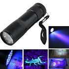Mini Aluminum UV ULTRA VIOLET 9 LED FLASHLIGHT BLACKLIGHT Torch Light Lamp KY