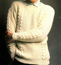 """Knitting Pattern- Gents Fishermans Rib & Cable sweater - fits chest 36-46"""" nice"""