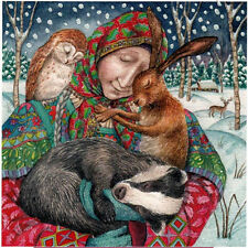 YULE XMAS GREETING CARD Arms of Grace PAGAN Wiccan HARE SOLSTICE WENDY ANDREW