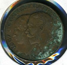 CANADA CONFEDERATION 60TH ANNIVERSARY QUEEN VICTORIA KING GEORGE V COPPER MEDAL