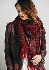 Free People Red Brushed Animal Leopard Fringed Scarf Retails $58.00