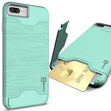 """Teal Mint Hard Hybrid Case for Apple iPhone 7 Plus (5.5"""") Kickstand Card Cover"""