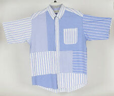 Orvis Men's Large Cotton Patchwork Plaid Stripe Short Sleeve Shirt Blue/White