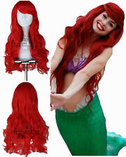 Little Mermaid Ariel Wig Wavy Cosplay Wig Synthetic Long Red Curly Costume Wigs