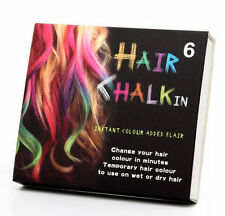 6 HAIR CHALK TEMPORARY HAIR DYE COLOUR SOFT PASTELS SALON KIT