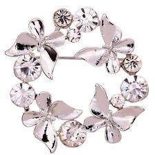 Gracia Plata Mariposa Cristal De Diamante Imitación Broche Mujer Fiesta Boda