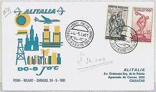 ITALIA storia postale - PRIMI VOLI - catalogo PELLEGRINI 438EM : CARACAS 1961