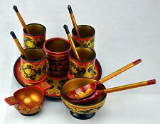 Khokhloma, Russian Folk Art Hand Painted Set Gold Red Lacquer. 14 ITMS (BI#NSM)