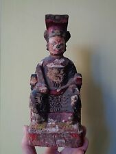 ANTIQUE CHINESE LACQUER CARVED WOOD SITTING FIGURE HAND PAINTED DEITY FIGURE