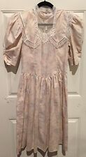 vtg 70s Gunne Sax Dress Boho Conservative Wedding Floral Lace Hippie Mint Size 8