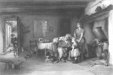 COTTAGE SCENE TODDLER BOY WATCHES DAD FIX BELLOWS ~ Old 1869 Art Print Engraving