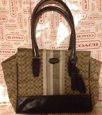 COACH LEGACY Khaki SIGNATURE STRIPE Small CANDACE CARRYALL Dust BAG $298 19915