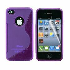 HOUSSE ETUI COQUE SILICONE GEL VIOLET APPLE IPHONE 4 / 4S
