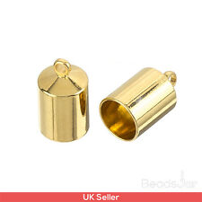 Shiny Gold Plated Barrel Kumihimo Glue In Cord End Caps 6mm Pack of 2 (D41/15)