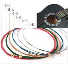 6pcs Stainless Steel Accessory Rainbow Color Strings for Acoustic Guitar uni