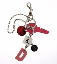 NWT DOLCE & GABBANA D&G Multicolor Logo Metal Lobster Clasp Keychain Keyring