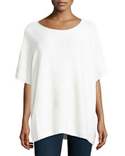 VINCE SZ M/L Winter White Wool Blend Ribbed Knit Pullover Slouchy Poncho $320