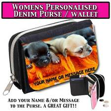 PERSONALISED CHIHUAHUA PUPPY DOG WOMEN DENIM PURSE WALLET LADIES MOTHER GIFT 048