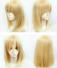 A:01  2014 New Blonde Medium short Straight Anime party Cosplay Full Wig