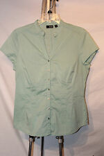 A.N.A. A NEW APPROACH Seafoam Green Cap Sleeve Blouse Button Down Tailored Fit