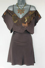 Karen Millen Lovely Brown Butterfly Style Embellished Formal Dress sz-8 EU-36