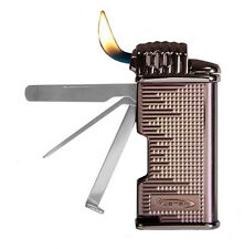 Vector Moritz Angled Flame Pipe Lighter w/ Built-in Tools Titanium Satin - 8281
